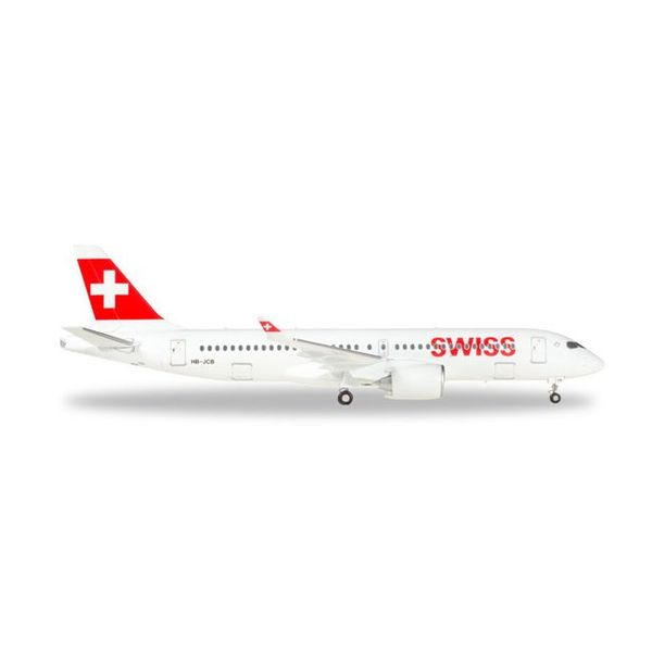 Herpa CS300 Swiss International CSeries 1:400 with stand