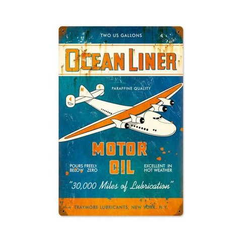 Ocean Liner Oil Metal Sign