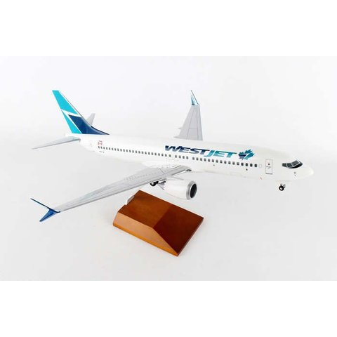 B737 MAX8 WestJet 2016 Maple Leaf livery 1:100 Supreme Wood stand+gear