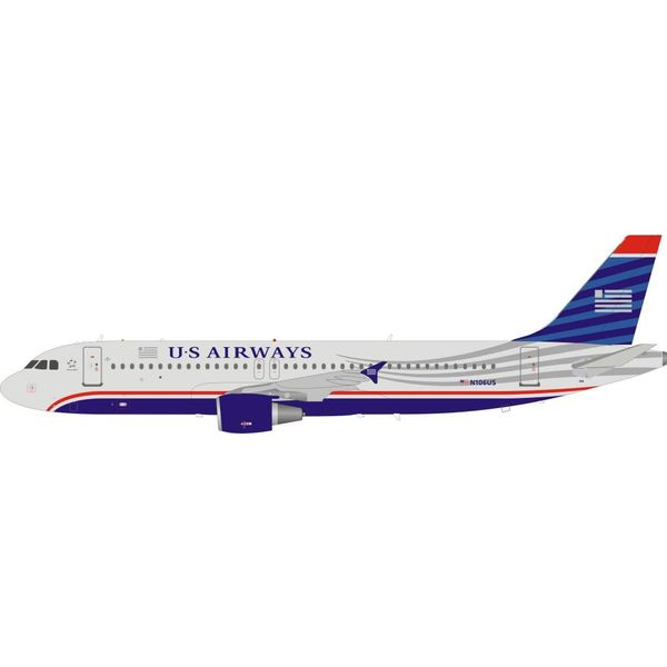 InFlight A320 US Airways final 2006 livery N106US Miracle on the Hudson 1:200 with stand