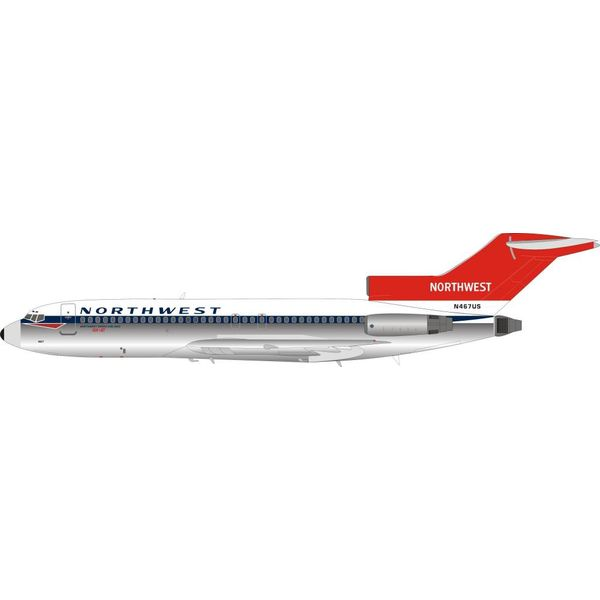 InFlight B727-100 Northwest red tail N467US 1:200 with stand