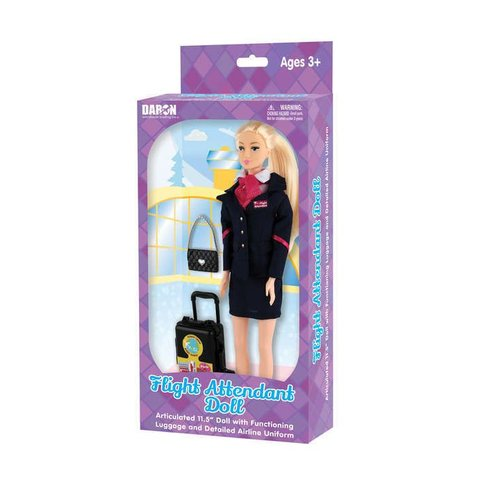 Flight Attendant Doll (Generic) with luggage