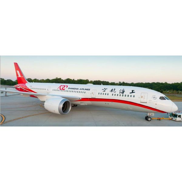 InFlight B787-9 Dreamliner Shanghai Airlines 100th Aircraft B-1111 1:200 with stand