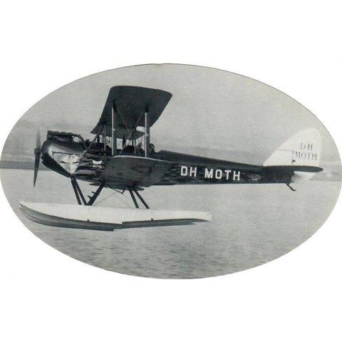 "DH Moth Sticker Black & White Oval 6"" X 3 3/4''"