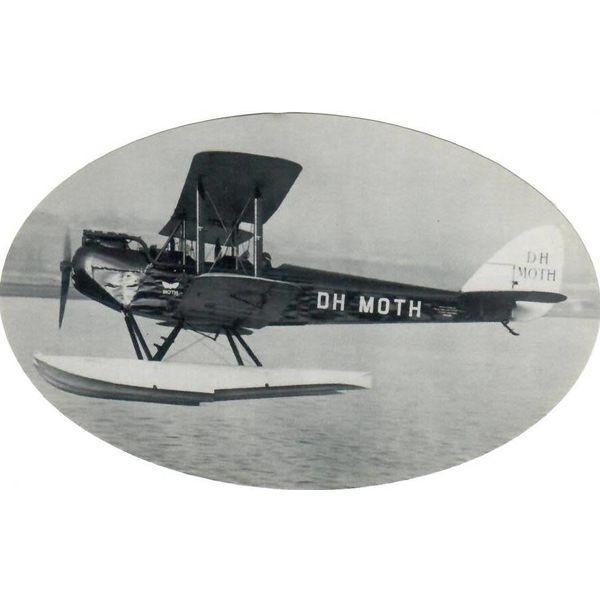 "deHavilland DH Moth Sticker Black & White Oval 6"" X 3 3/4''"