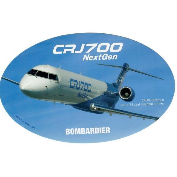 Bombardier CRJ700 NextGen Oval Blue 3 3/4'' X 6'' Sticker