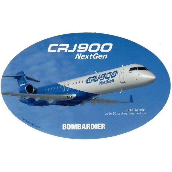 Bombardier CRJ900 Oval 3 3/4'' X 6'' Sticker
