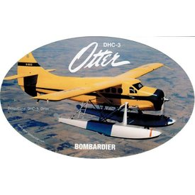 "Bombardier DHC3 Otter Oval Yellow Sticker 6"" x 3 3/4"""