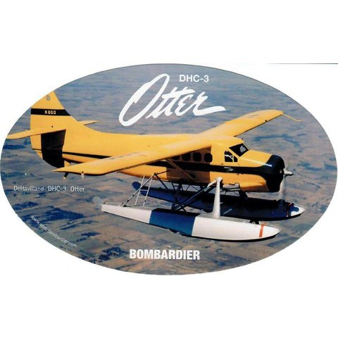 """DHC3 Otter Oval Yellow Sticker 6"""" x 3 3/4"""""""