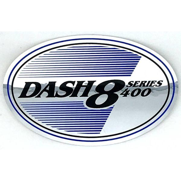 "Bombardier Dash8 series 400 Foil sticker Oval 4 3/4"" x 3 1/4"""