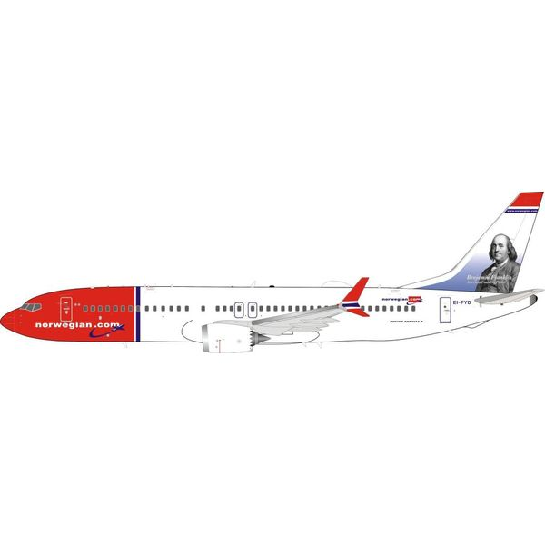 InFlight B737 MAX8 Norwegian Air Shuttle Benjamin Franklin EI-FYD 1:200 With Stand