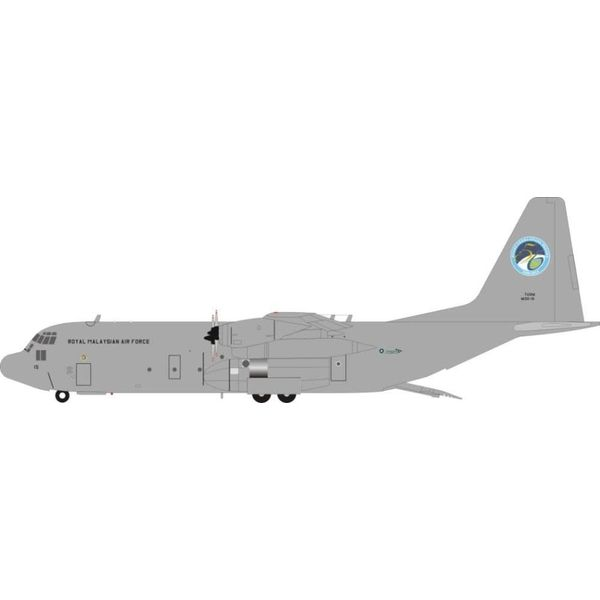 JFOX C130H-30 Hercules Royal Malaysian Air Force 50 years M30-15 Grey 1:200 with stand