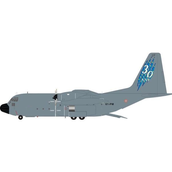 JFOX C130H Hercules French Air Force Armee de l'Air 30 ans 61-PM 4588 Grey 1:200 with stand