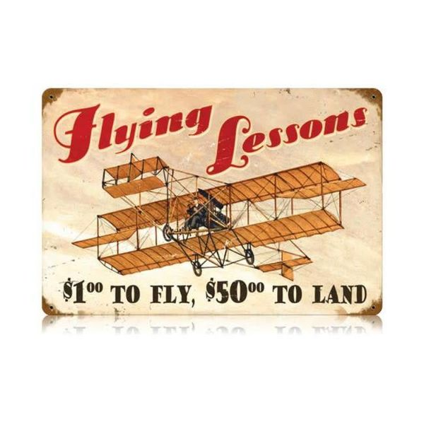 Flying Lessons Metal Sign