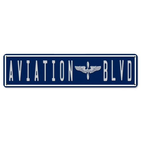 Aviation Boulevard Metal Sign