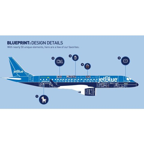 ERJ190 jetBlue Blueprint 1:100 with stand (no gear)