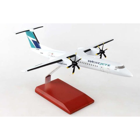 dash8 Q400 Westjet Encore 1:72 with wooden stand
