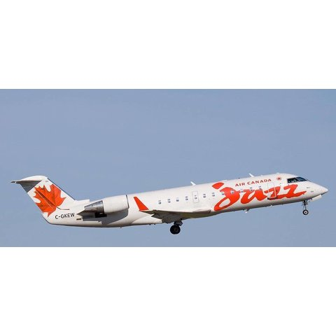CRJ200 Air Canada Jazz old livery red maple leaf C-GKEW 1:200 with stand