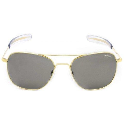 Aviator Gold 23k Bayonet Glass Gray AR 52 Sunglasses