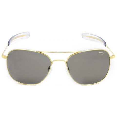 Aviator Gold 23k Bayonet Glass Gray AR 58 Sunglasses