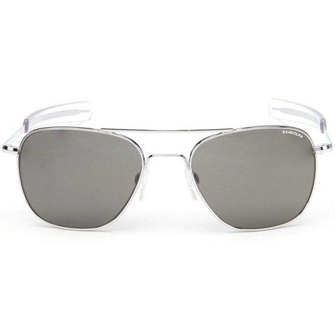 Aviator Bright Chrome Bayonet Glass Gray AR 52 Sunglasses