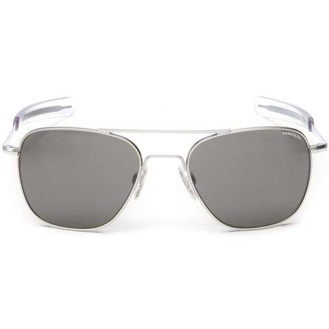 Aviator Matte Chrome Bayonet Glass Gray AR 52 Sunglasses