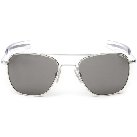 Aviator Matte Chrome Bayonet Glass Gray AR 58 Sunglasses