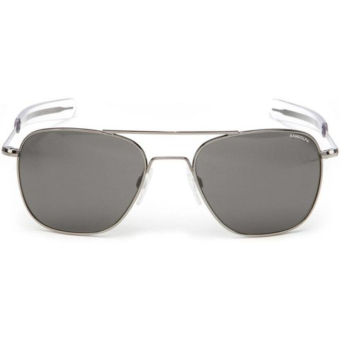 Aviator Gun Metal Bayonet Glass Gray AR 55 Sunglasses