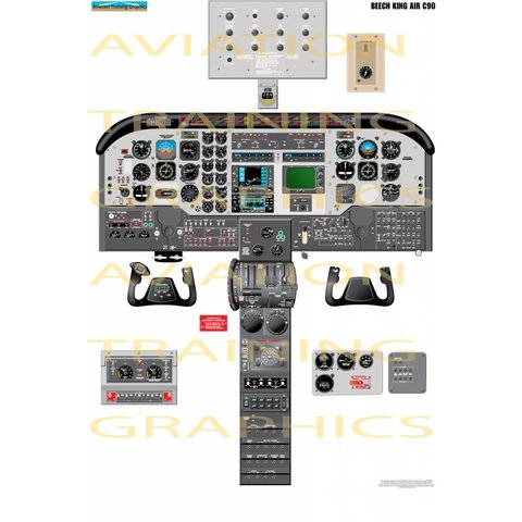 Laminated Cockpit Training Poster King Air C90 24'' X 33''