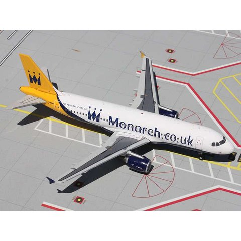 A320 Monarch.co.uk new livery G-OZBX 1:200 with stand