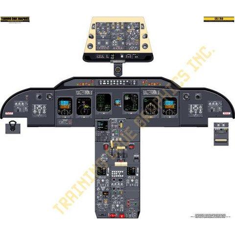 Laminated Cockpit Training Poster CRJ700/705/900