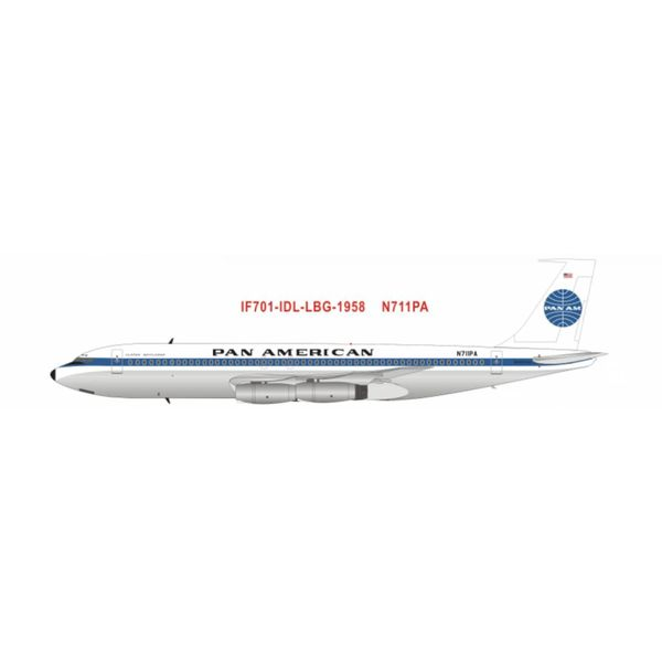 InFlight B707-121 PAN AMERICAN Clipper America N711PA 60th anniversary Polished 1:200 with stand