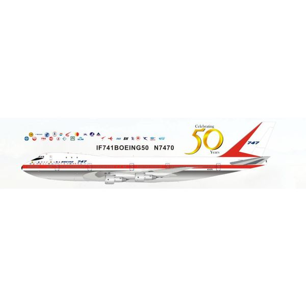 InFlight B747-100 Boeing House Livery Roll Out 50th Anniversary N7470 1:200 Polished With Stand