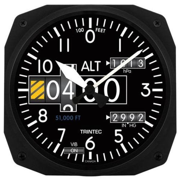 Trintec Industries Modern Altimeter Instrument Style Clock