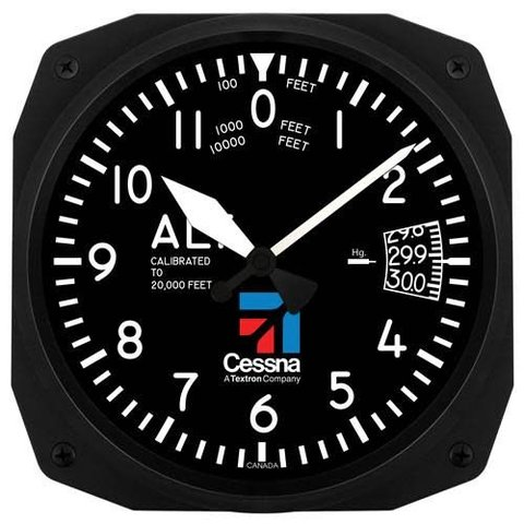 "Cessna 10"" Altimeter Instrument Style Wall Clock"