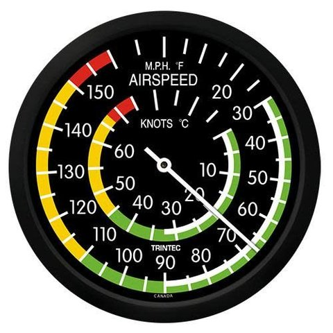 """Classic 10"""" Airspeed Indicator Thermometer"""