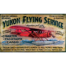 Yukon Flying Service Wood Sign
