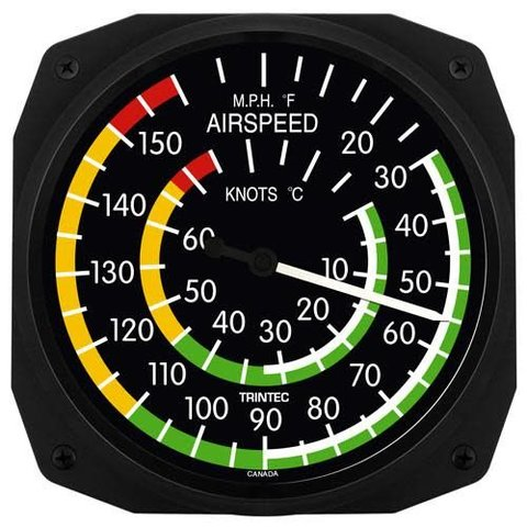 "Classic 10"" Airspeed Instrument Style Thermometer"