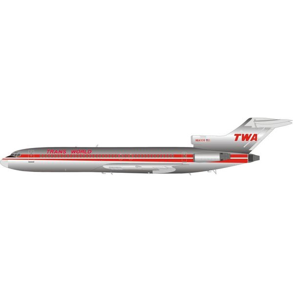 InFlight B727-200 TWA TRANS WORLD N64339 1:200 polished with stand