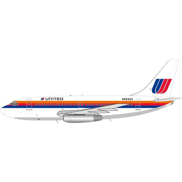 InFlight B737-200 United Airlines Saul Bass Livery N994UA 1:200 with stand