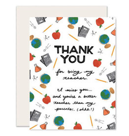 Slightly Greeting Card: TEACHER Thank You