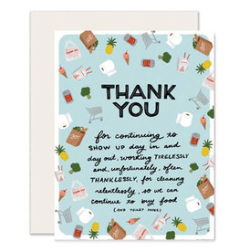Slightly Greeting Card: GROCERY & TAKEOUT STAFFERS Thank You