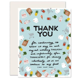 Greeting Card: GROCERY & TAKEOUT STAFFERS Thank You