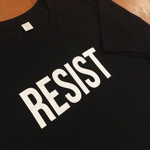 RESIST Crew T-Shirt Black with White