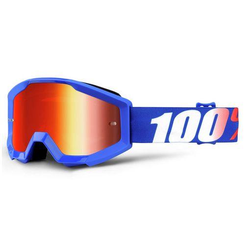 100% 100% Strata Jr Goggle Nation Blue/Mirror Red Lens