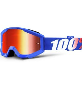 100% 100% Strata Jr Goggle Nation Blue/Mirror Red Lens