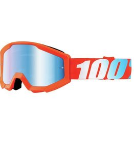100% 100% Strata Goggle Orange Mirror Blue Lens