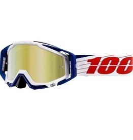 100% 100% Racecraft Goggle Bibal White/Mirror Gold Lens
