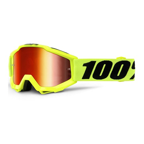 100% 100% Accuri Youth Goggle Fluo Yellow  Mirror Red Lens