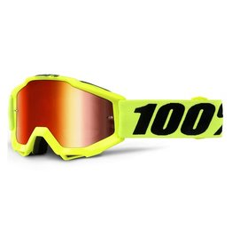 100% 100% Accuri Youth Goggle Fluo Yellow with Mirror Red Lens
